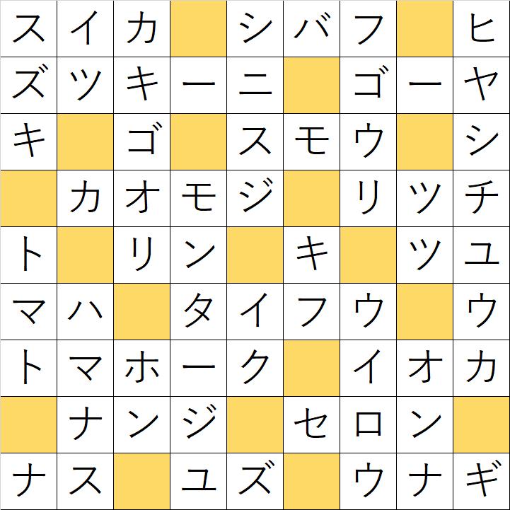 クロスワードde懸賞「No.28 夏の味覚クロス」の答え