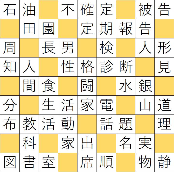 クロスワードde懸賞「No.K3 漢字穴埋学校クロス」の答え