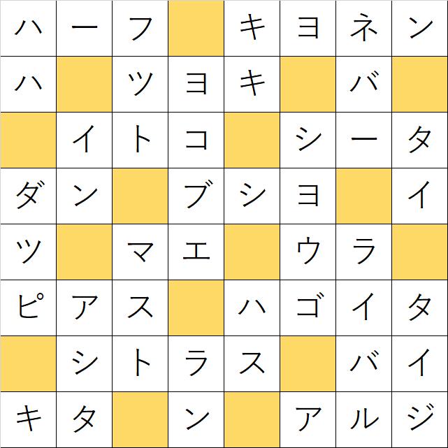 クロスワードde懸賞「No.1072 〇〇の〇〇は…クロス」の答え