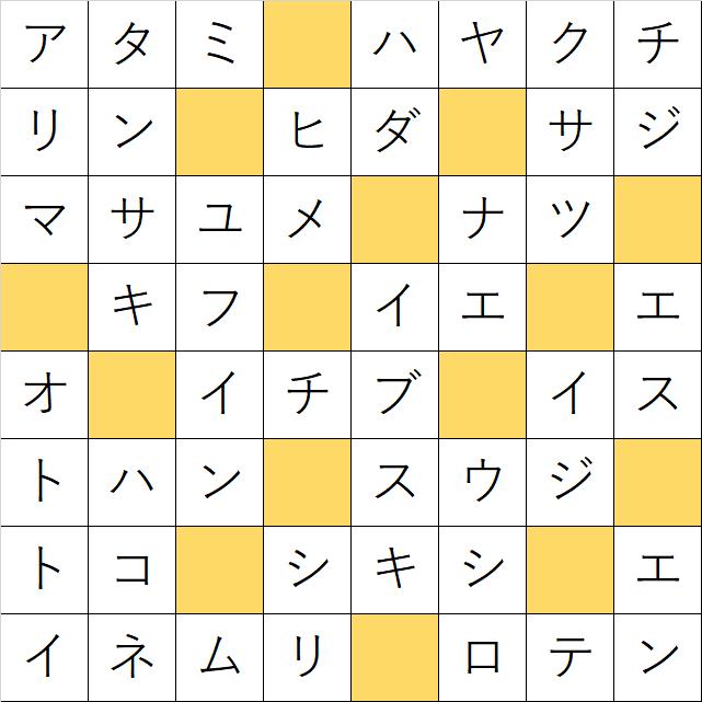 クロスワードde懸賞「No.1077 日本の温泉地クロス」の答え