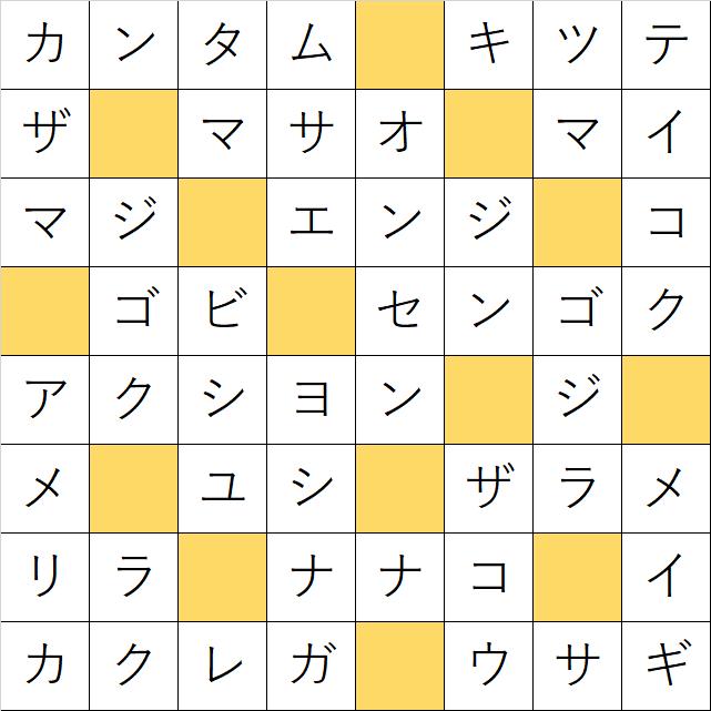 クロスワードde懸賞「No.722 クレヨンしんちゃんクロス」の答え