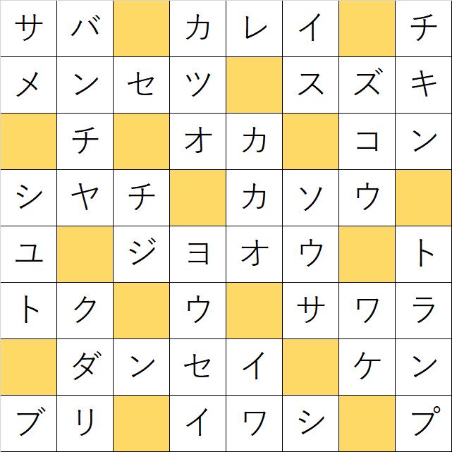 クロスワードde懸賞「No.935 魚へんの漢字クロス」の答え