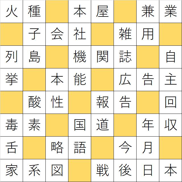 クロスワードde懸賞「No.K13 世界の平和を願う漢字クロス」の答え