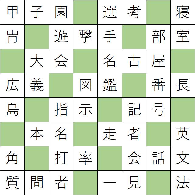 クロスワードde懸賞「No.K38 野球の漢字クロス」の答え