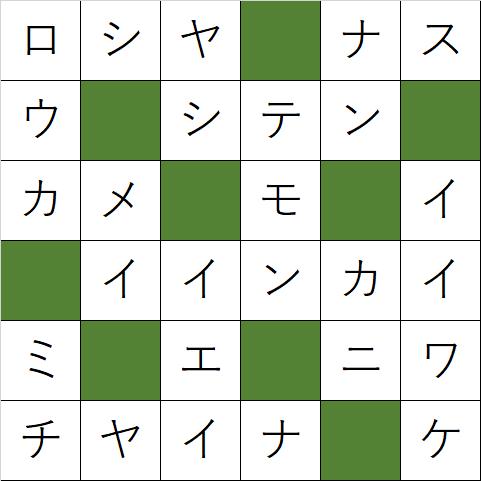 クロスワードパズル「Q115 つまらんシャレは」の答え