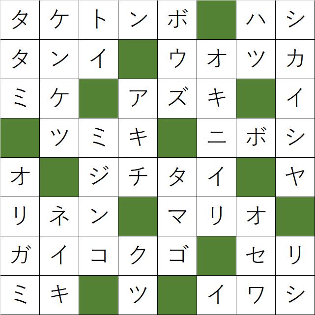 クロスワードパズル「Q52 昔に学ぼう」の答え