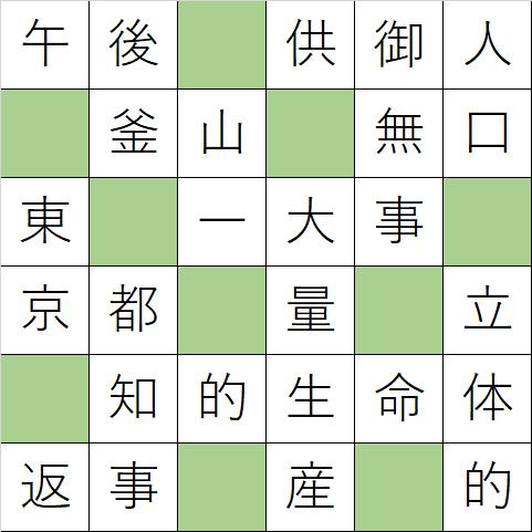 クロスワードde懸賞「No.K108 日本の首都クロス」の答え