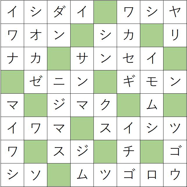 クロスワードde懸賞(クロス懸賞)「No.1268 漢字読みクロス」の答え